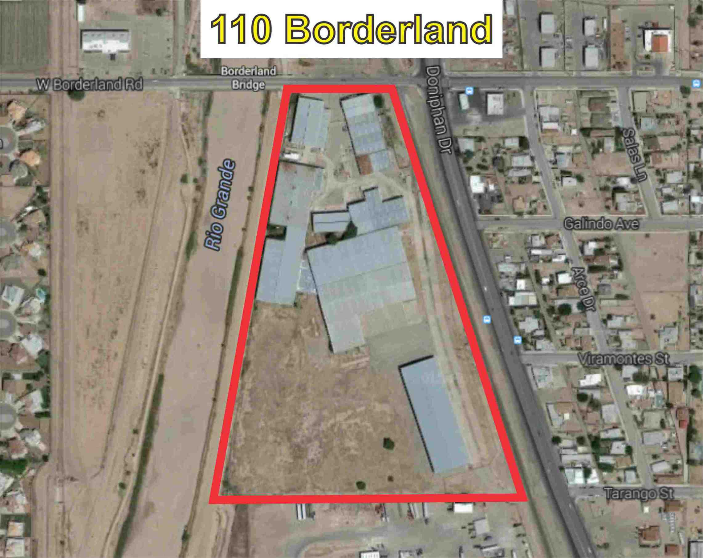Great Location, close to Santa Teresa - San Geronimo International Bridge. 18.64 acres of land. Formally Tre-Pol Inc. Could be sold by warehouse or in full. Tract 7F, 7G, 7G1 and 7H3, Block 12, UPPER VALLEY SURVEYS, in El Paso County, Texas, according to a resurvey of said UPPER VALLEY SURVEYS made by El Paso County , Texas for tax purposes; being the same property conveyed by Warranty Deed, dated, January 1, 2007, recorded under Clerk' s File No. 20070010480, Real Property Records, El Paso County, Texas, municipally known and numbered as 110 W. Borderland Road, El Paso, Texas.
